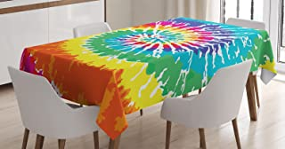 Ambesonne Rainbow Tablecloth, Digital Spiral Vortex Vibrant Rainbow Colored Sixties Ikat Psychedelic Pattern Print, Dining Room Kitchen Rectangular Table Cover, 52