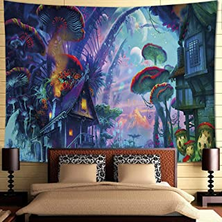 INTHouse Psychedelic Forest Tapestry Wall Hanging Magic Land Tapestry Wall Decor for Bedroom CollegeDorm Room