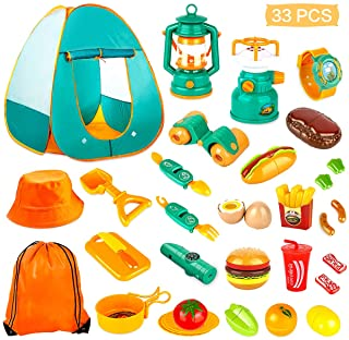 KAQINU 27 PCS Kids Camping Set, Pop Up Play Tent with Kids Camping Gear Toys, Indoor and Outdoor Camping Tools Pretend Pla...