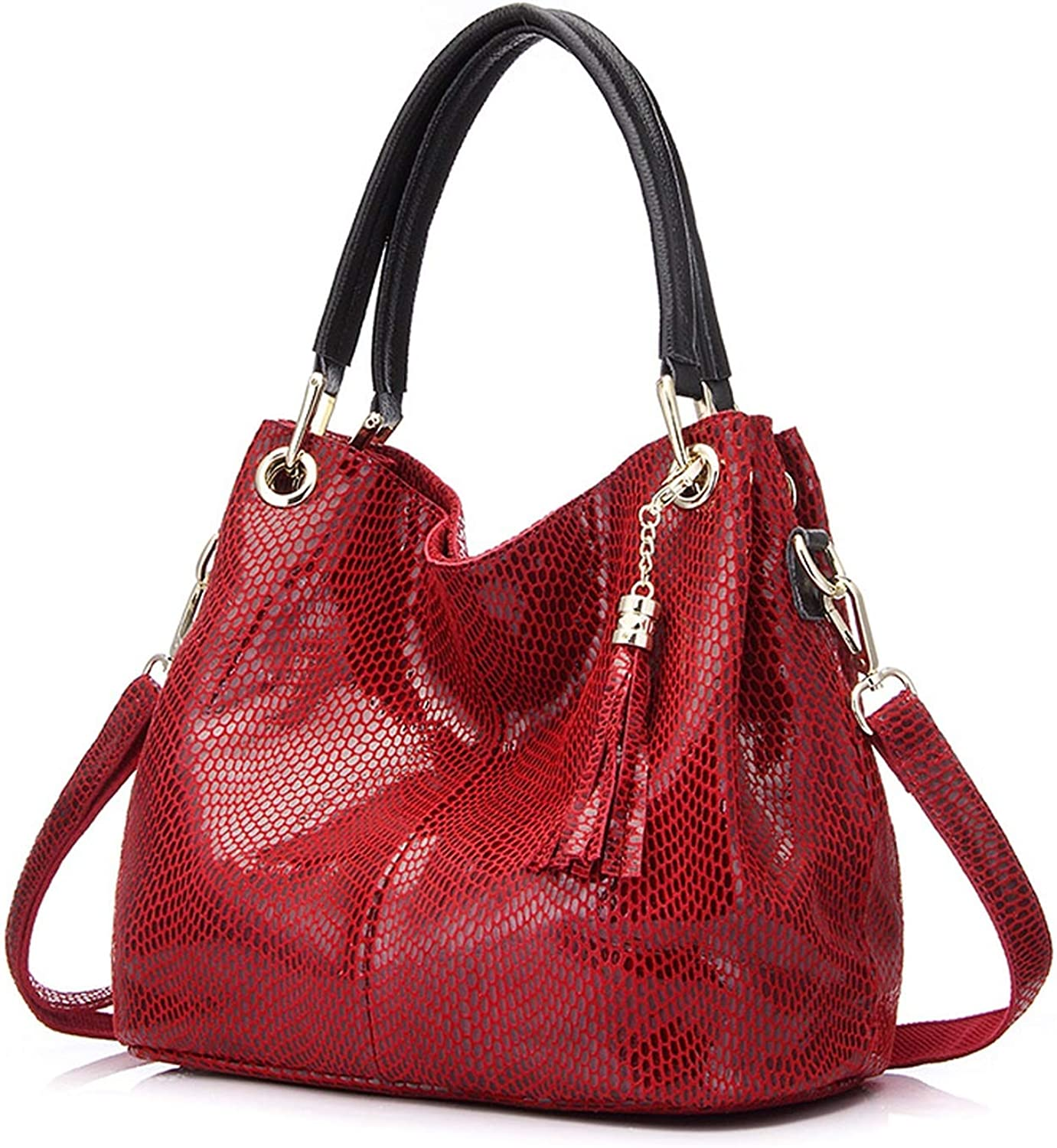 Female hobos shoulder crossbody bags leather totes women,red,(30cmMax Length50cm)
