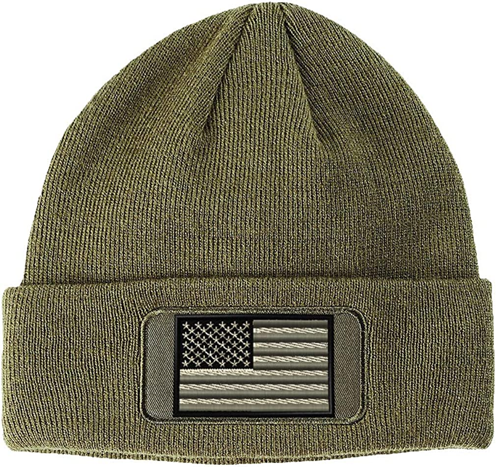 Custom Patch OFFer Ranking TOP20 Beanie Black White American Flag Embroidery Acrylic
