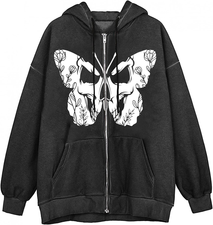 Women Zip Up Oversized Hoodie Sweatshirt Drawstring Long Sleeve Coat Punk 90s E-Girl Vintage Streetwear Jacket with Pockets