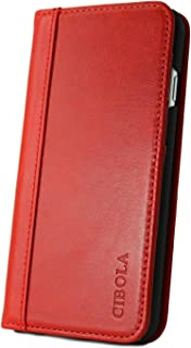 iPhone 5 iPhone 5s iPhone SE Case, CIBOLA Genuine Leather Wallet Folio Case Book Design with Stand and ID Credit Card Slots Magnetic Closure for iPhone 5 / 5s / SE (Red, iPhone5/5s/SE)