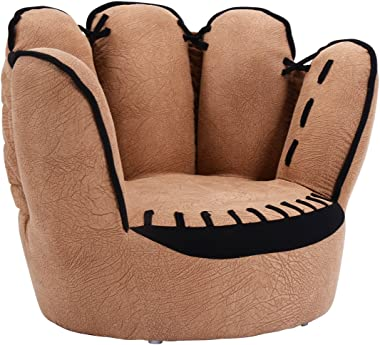 GLACER Kids Sofa, Upholstered Toddler Couch Chair for Boys and Girls, Baseball Glove Baby Sofa Chair Children Armchair with S