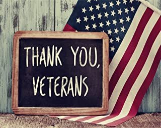 AOFOTO 5x4ft Thank You Veterans Written in Chalkboard Backdrop American Flag Photography Background US Stars and Stripes On Vintage Wood Board Patriotic Photo Studio Props Independence Day Wallpaper