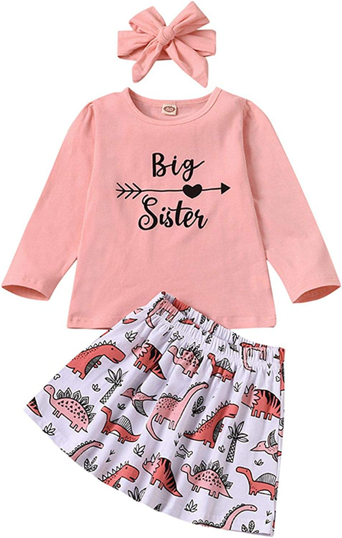 BOWINR Toddler Baby Girl Clothes Long Sleeve Shirt Letter Print Top Dinosuar Skirt Headband Set 3PCS