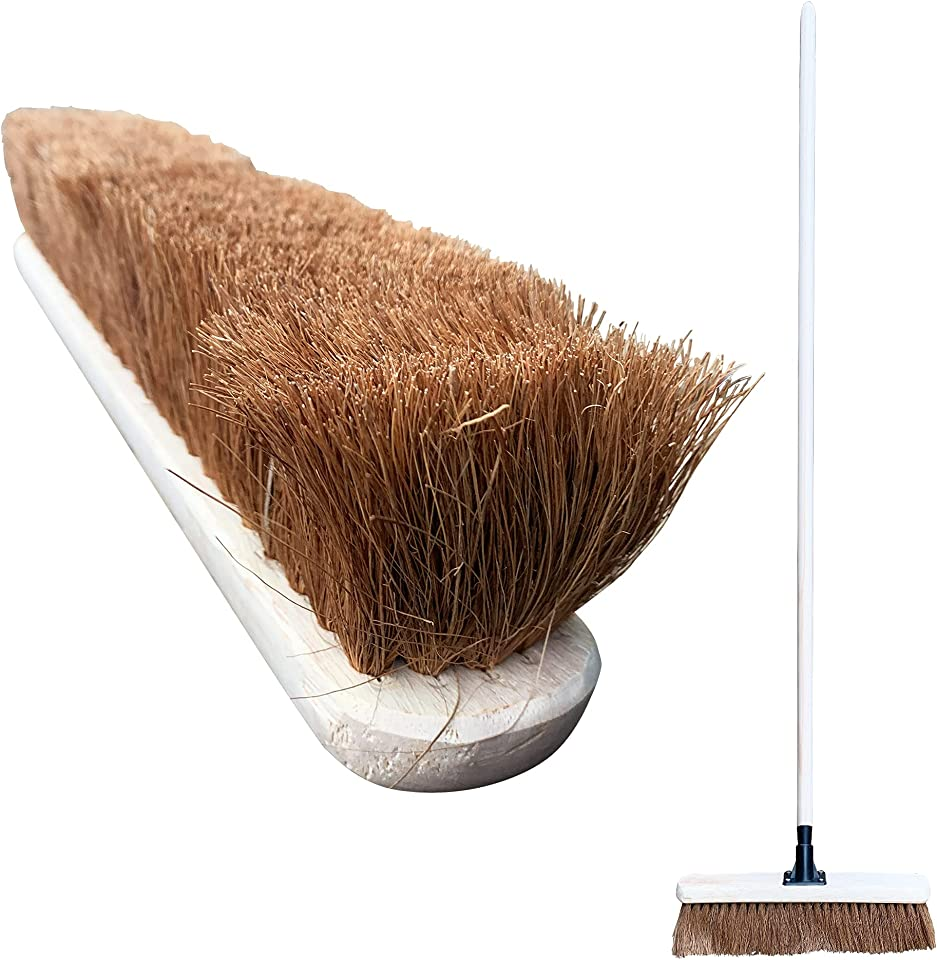 """18"""" Soft Broom Outdoor, Wide Reach Soft Sweeping Brush with Natural Coco Bristles and Long Wooden Broom Handle, Soft Brush Broom Outdoor for Cleaning Flat and Smooth Surfaces, Decking and Paving Slabs"""