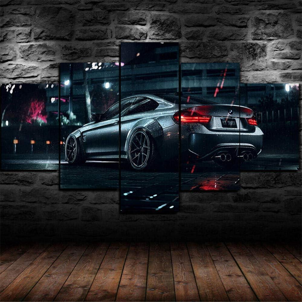 13Tdfc 5 Teilig Leinwand Wanddeko BMW M4 Supersportwagen Malerei Leinwanddrucke Geschenk 5 Stück Leinwand Bilder Moderne Wandbilder XXL Wohnzimmer…