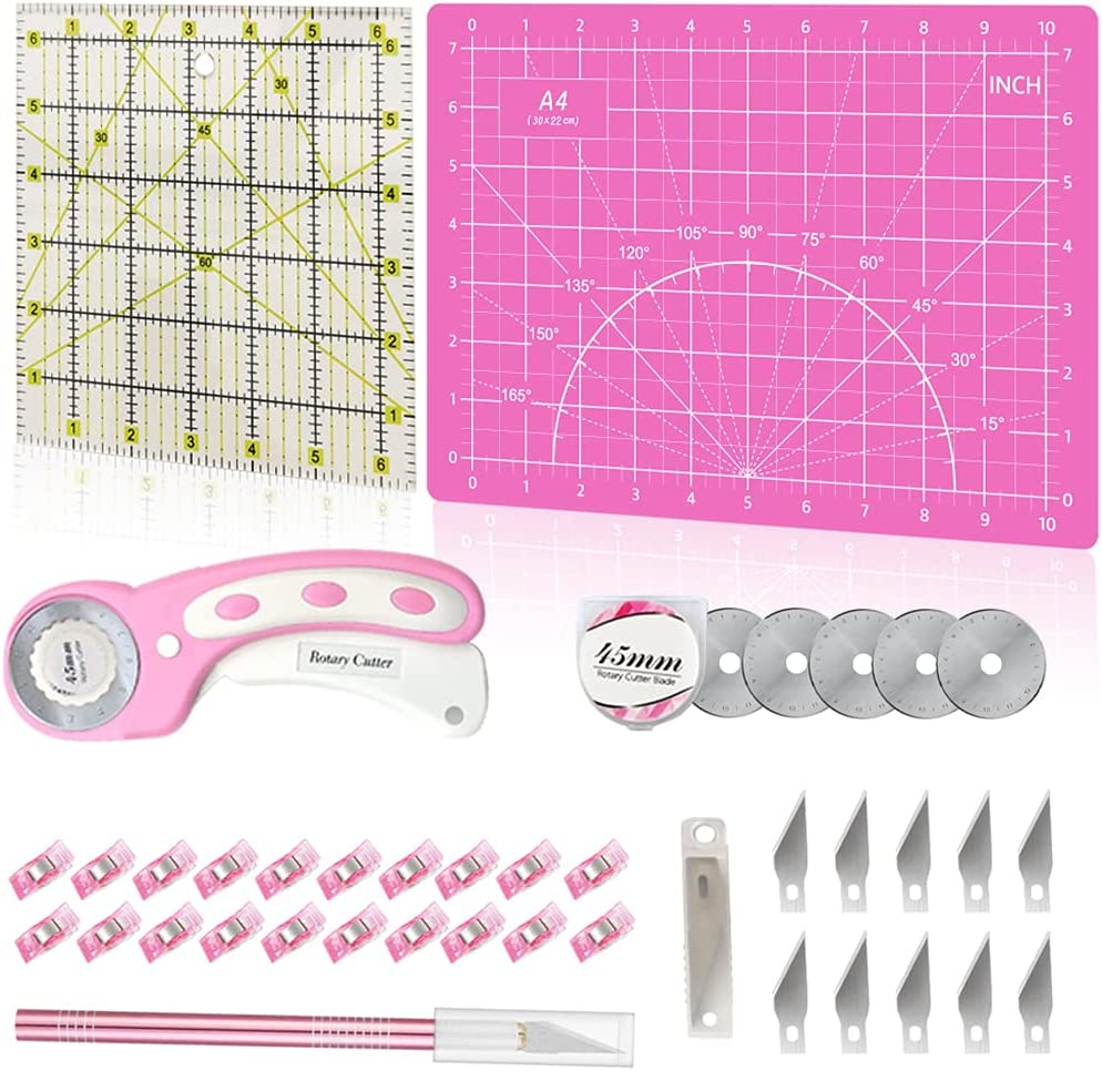39 Pcs Rotary Cutter Set Pink New popularity - incl. Quilting C Kit Bargain 45mm Fabric