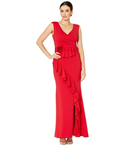 Adrianna Papell Long Pleat Wrap Crepe Dress with Fabric Flower and Ruffle Detail (Red Fire) Women