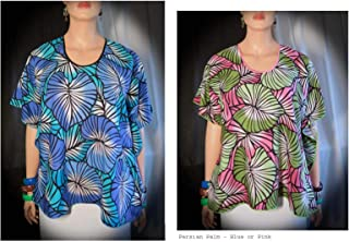 e73e5e854 Royal Persian Palm Hawaiian Polynesian Butterfly caftan tunic cover-up  travel top. Pink or