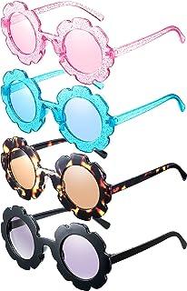 Hicarer - 4 pares de gafas de sol con forma de flor para niños, niñas, accesorios para fiestas de playa al aire libre