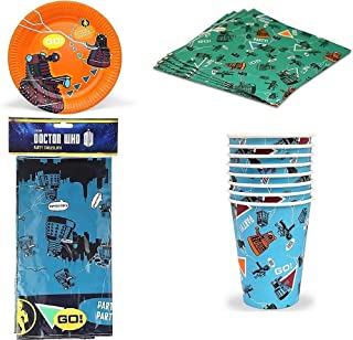 BBC Doctor Who - Children's Partyware Pack - Party for 6 - Plates Napkins Cups Tablecover