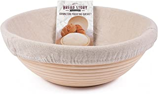 (25 cm) Round Banneton Proofing Basket Set - Brotform Handmade Unbleached Natural Cane For homemade Crusty Fresh, Easy to ...