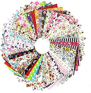 100 PCS Cotton Craft Fabric Bundle Squares Patchwork Lint Different Designs 4 x 4 inches for DIY Sewing Quilting Scrapbooking