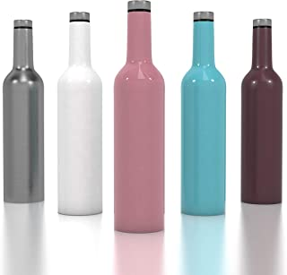 Stainless Steel Wine Bottle - Outdoor Spirit & Wine Growler - 750ml 25oz Vacuum Insulated Wine Bottle - Double Walled Travel Flask with a Screw Top Leak Proof Lid - Perfect Gift for Wine Travel