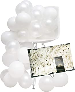 White 5 inch Small Color Latex Balloons (Thick Strong 250pc) Pearl & Matt for Wedding, Brida, l Baby Shower, Birthday, Eng...
