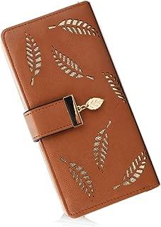 Women's Long Leather Card Holder Purse Zipper Buckle Elegant Clutch Wallet (Yellow)