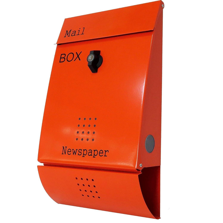 ポスト 郵便ポスト 郵便受け メールボックス壁掛けオレンジ色 ステンレスポストm015