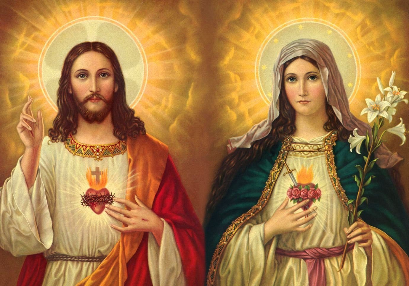 Amazon.com: Jesus and Mary POSTER A2 print Sacred Heart of Jesus and Virgin  Mary painting Religious Artwork Catholic pictures Christian Holy Wall Art  Decor for Home Room: Handmade