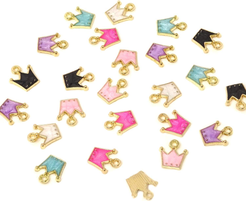 Honbay 24PCS Rapid 2021 new rise Mini Enamel Crown Pendants for Charms Jewelry Makin