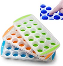 EVELYN LIVING Ice Cube Tray Easy Pop Plastic Silicone Mould Maker Reusable Freezer Safe 21 Ice Cubes