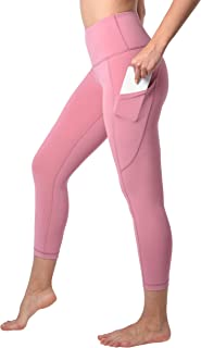 90 Degree By Reflex Squat Proof Side Phone Pocket Yoga Capris - High Waist Cropped Leggings - French Pink - Large