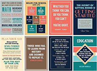Inspirational Motivational Quote Posters for Classroom or School; Success Wall Art Inspired by Famous Historical Leaders a...