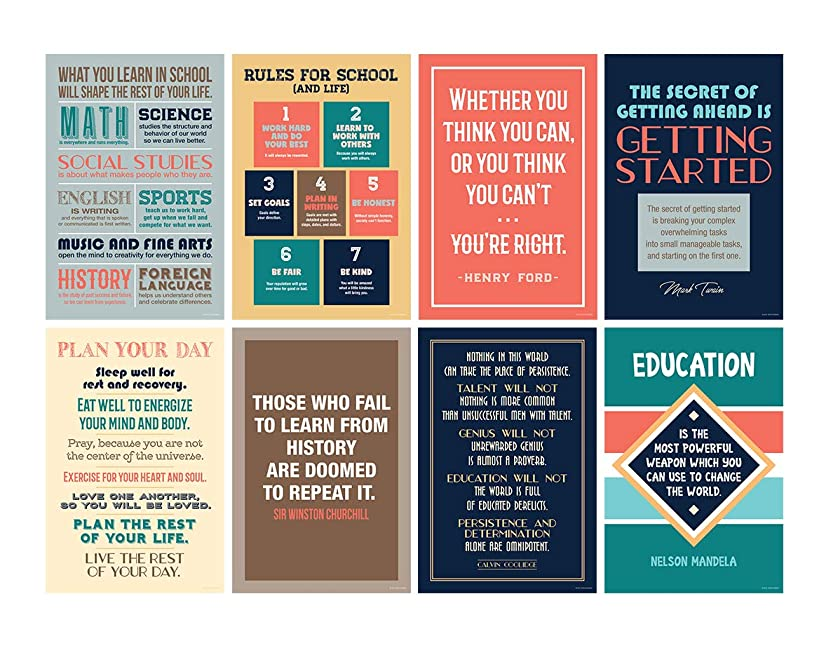Inspirational Motivational Quote Posters for Classroom or School; Success Wall Art Inspired by Famous Historical Leaders and Thinkers for School and Office, 12x18 Inch Size, Set of 8 Unframed
