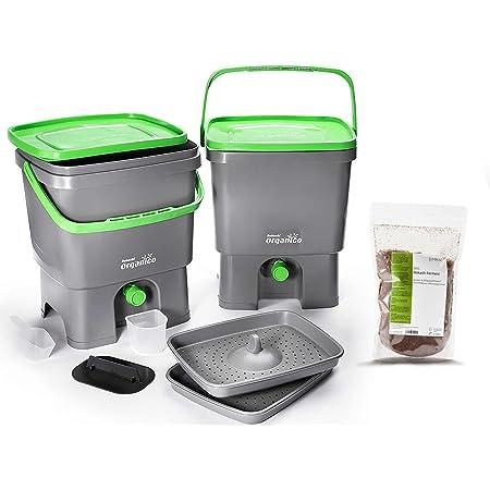 Skaza Bokashi Organko Set (2 x 16 L) Compostador 2X de Jardín y Cocina de Plástico Reciclado   Starter Set con EM Bokashi Polvo 1 Kg. (Gris-Verde)