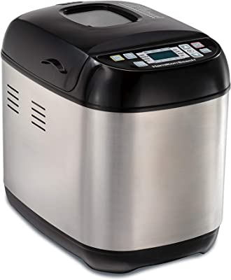 Hamilton Beach Bread Maker Machine Artisan and Gluten-Free, 2 lbs Capacity, 14 Settings, Digital, Steel, Black and Stainless (29885)