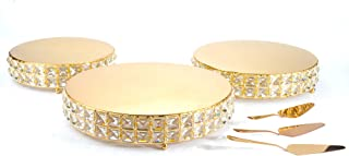 Lindlemann Three Piece Metal Cake Stand - Round Cake Stands with Genuine Mineral Crystals - Three Bonus Cake Spatulas - Can be Used Individually or Stacked (10 inches + 12 inches + 13.5 inches, Gold)