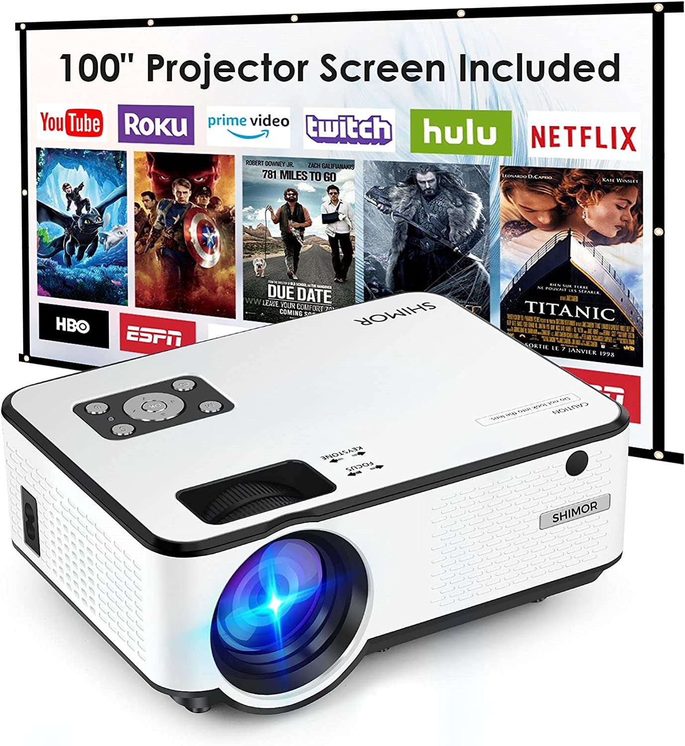 Mini Projector, SHIMOR C9 7500L HD Outdoor Movie Projector with 100 Inch Projector Screen, 1080P Supported Compatible with TV Stick, Video Games, HDMI, USB, AUX, AV, PS4, Laptop, Smartphone
