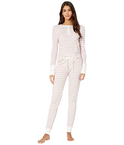 Splendid Cozy Thermal PJ Set (Pink Heather Stripe) Women