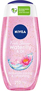 NIVEA Waterlily & Oil Shower Gel, Caring Oil Pearls, Waterlily Scent, 250ml
