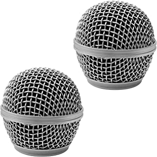 Seismic Audio - SA-M30Grille-Silver-2Pack - 2 Pack of Replacement Silver Steel Mesh Microphone Grill Heads - Compatible with SA-M30, Shure SM58, Shure SV100 and Similar