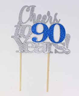 All About Details Cheers to 90 Years Cake, 1pc, Birthday, Anniversary, Party Decor, Glitter Topper (Silver & Blue), 6 x 9