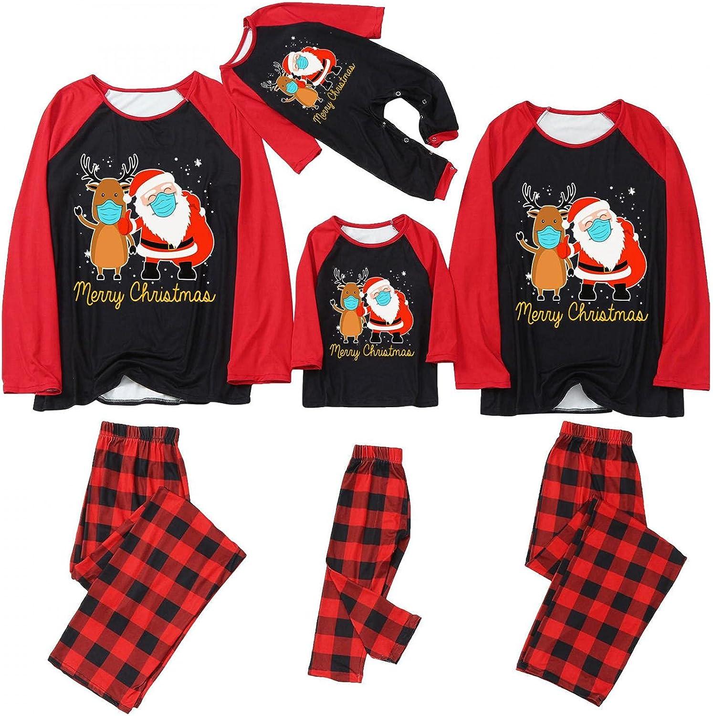 Masbird Christmas Pajamas for Family,Long Sleeve Matching Outfits Red Plaid Print Tops + Pants Pjs Sleepwear Sets