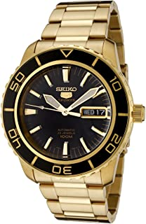 Men's SNZH60 Seiko 5 Automatic Black Dial Gold-Tone Stainless Steel Watch
