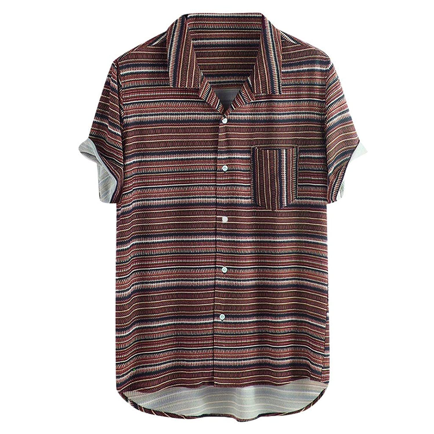 Mens Vintage Tops Striped Turn Down Collar Short Sleeve Loose Beach Casual Shirt