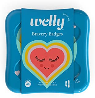 Welly Bandages - Bravery Badges, Flexible Fabric, Adhesive, Standard Shapes, Eye Love U Patterns - 48 Count