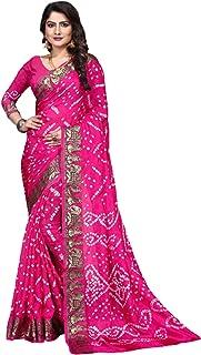 Indian Traditional Pink Bandhej Art Silk Zari weaving Festival Bandhani Printed Saree Blouse Sari 6316 3