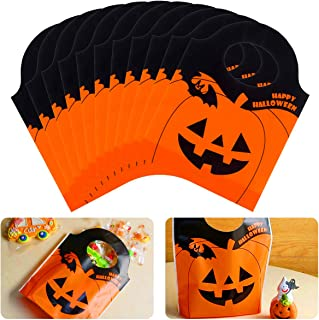Alphatool 50 Pieces Halloween Candy Goody Bags- Jack-O-Lantern Orange Pumpkin Mini Plastic Party Gift Treat Bags for Hallo...