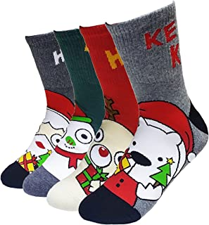 JJMax Fun Christmas Spirit Cotton Socks Set: Rudolph, Santa, Snowman, Teddy Bear