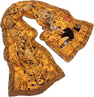 a5e6c057e 100% Silk Charmeuse Long Scarf Shawl Art with Hand Rolled Edge, 62