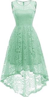 MUADRESS Women s Vintage Floral Lace Sleeveless Hi-Lo Cocktail Formal Swing  Dress e60647182