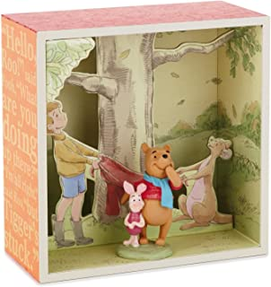 Pooh and Gang at Tree Base Shadow Box With Figurine Decorative Accessories