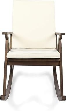 Christopher Knight Home 304342 Louise Outdoor Acacia Wood Rocking Chair, Dark Brown/Cream Cushion