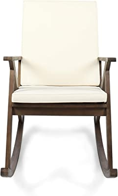 Christopher Knight Home 304342 Louise Outdoor Acacia Wood Rocking Chair, Dark Brown/Cream Cushion
