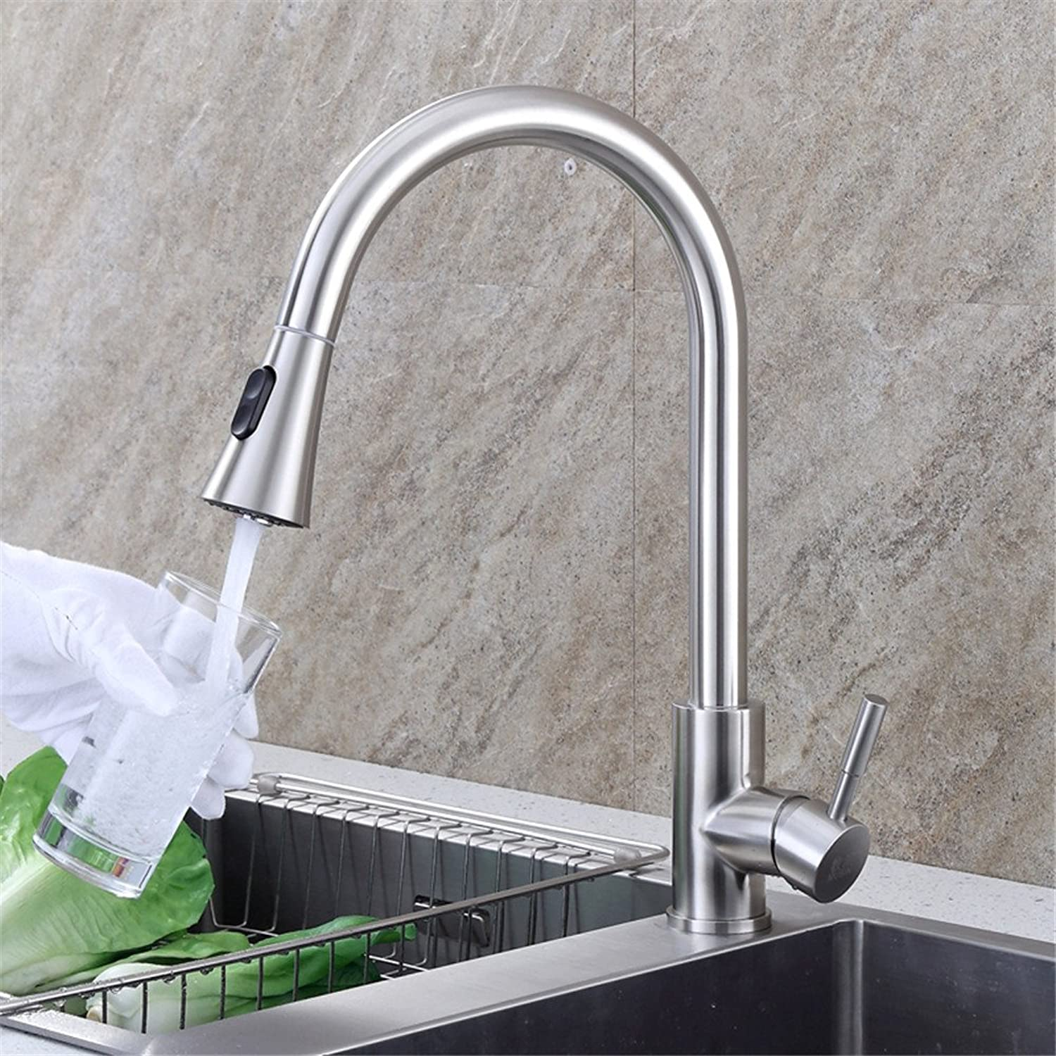 AOLOR Basin Pull Type 304 Stainless Steel hot and Cold Expansion Modern Taps Kitchen Brass Faucet Bathroom Sink Waterfall Tap Mixer Water Washroom Bath Tub Shower
